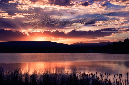 Sunset Over Piñon Lake Reservoir in Pagosa Springs, Colorado
