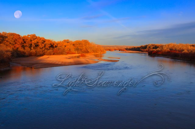 The Rio Grande and an almost-full moon